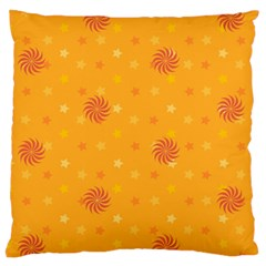 Star White Fan Orange Gold Large Cushion Case (two Sides)