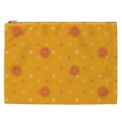 Star White Fan Orange Gold Cosmetic Bag (xxl)