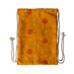 Star White Fan Orange Gold Drawstring Bag (small) by Alisyart