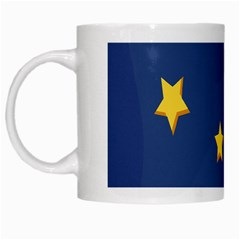 Starry Star Night Moon Blue Sky Light Yellow White Mugs by Alisyart
