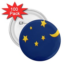 Starry Star Night Moon Blue Sky Light Yellow 2 25  Buttons (100 Pack)  by Alisyart