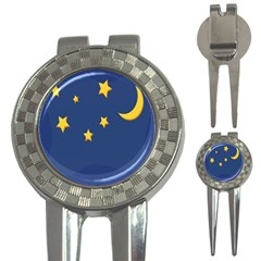 Starry Star Night Moon Blue Sky Light Yellow 3 In 1 Golf Divots