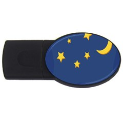 Starry Star Night Moon Blue Sky Light Yellow Usb Flash Drive Oval (2 Gb) by Alisyart