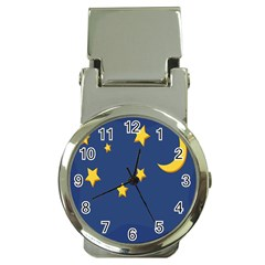 Starry Star Night Moon Blue Sky Light Yellow Money Clip Watches