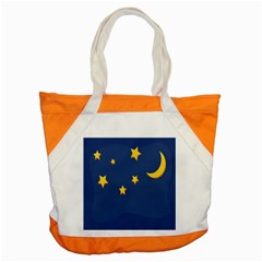 Starry Star Night Moon Blue Sky Light Yellow Accent Tote Bag by Alisyart