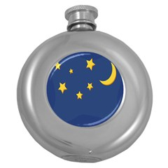 Starry Star Night Moon Blue Sky Light Yellow Round Hip Flask (5 Oz)