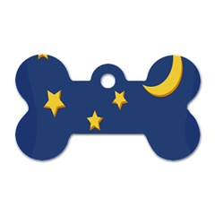 Starry Star Night Moon Blue Sky Light Yellow Dog Tag Bone (two Sides) by Alisyart