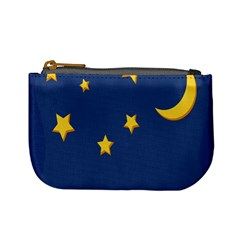 Starry Star Night Moon Blue Sky Light Yellow Mini Coin Purses