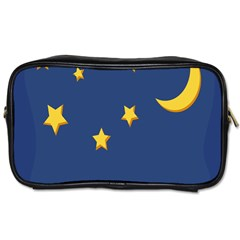 Starry Star Night Moon Blue Sky Light Yellow Toiletries Bags 2 Side