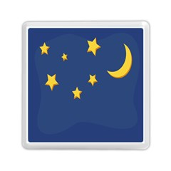 Starry Star Night Moon Blue Sky Light Yellow Memory Card Reader (square)  by Alisyart