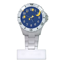 Starry Star Night Moon Blue Sky Light Yellow Plastic Nurses Watch