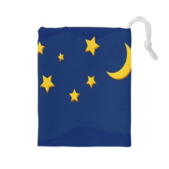 Starry Star Night Moon Blue Sky Light Yellow Drawstring Pouches (large)  by Alisyart