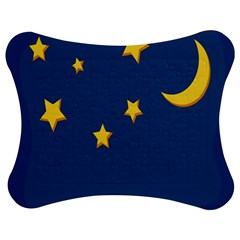 Starry Star Night Moon Blue Sky Light Yellow Jigsaw Puzzle Photo Stand (bow)