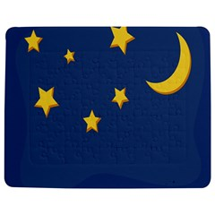 Starry Star Night Moon Blue Sky Light Yellow Jigsaw Puzzle Photo Stand (rectangular)