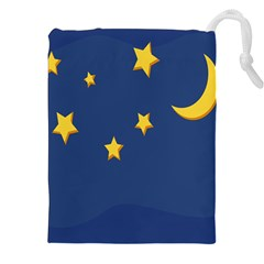 Starry Star Night Moon Blue Sky Light Yellow Drawstring Pouches (xxl) by Alisyart