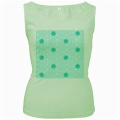 Star White Fan Blue Women s Green Tank Top