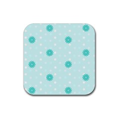 Star White Fan Blue Rubber Coaster (square)