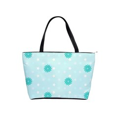 Star White Fan Blue Shoulder Handbags