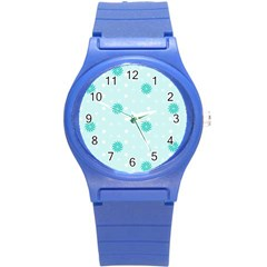 Star White Fan Blue Round Plastic Sport Watch (s)