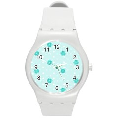 Star White Fan Blue Round Plastic Sport Watch (m)