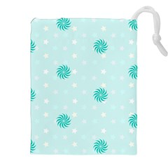 Star White Fan Blue Drawstring Pouches (xxl)