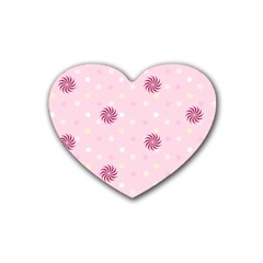 Star White Fan Pink Rubber Coaster (heart)