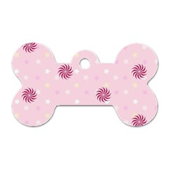 Star White Fan Pink Dog Tag Bone (two Sides)