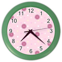 Star White Fan Pink Color Wall Clocks