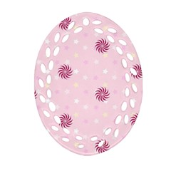 Star White Fan Pink Ornament (oval Filigree)