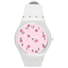 Star White Fan Pink Round Plastic Sport Watch (m) by Alisyart