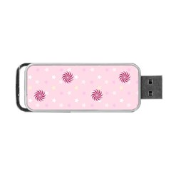 Star White Fan Pink Portable Usb Flash (two Sides)