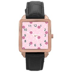 Star White Fan Pink Rose Gold Leather Watch