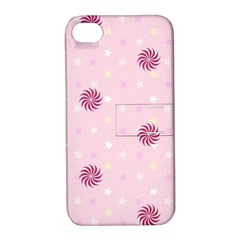 Star White Fan Pink Apple Iphone 4/4s Hardshell Case With Stand
