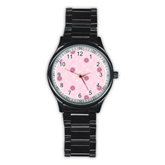 Star White Fan Pink Stainless Steel Round Watch by Alisyart