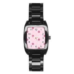Star White Fan Pink Stainless Steel Barrel Watch