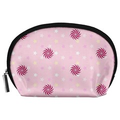 Star White Fan Pink Accessory Pouches (large)