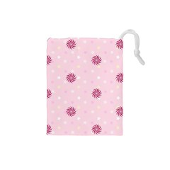 Star White Fan Pink Drawstring Pouches (small)