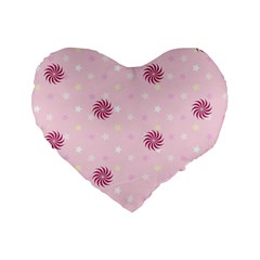 Star White Fan Pink Standard 16  Premium Flano Heart Shape Cushions