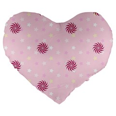 Star White Fan Pink Large 19  Premium Flano Heart Shape Cushions