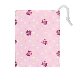 Star White Fan Pink Drawstring Pouches (extra Large)