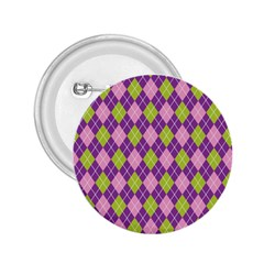 Plaid Triangle Line Wave Chevron Green Purple Grey Beauty Argyle 2 25  Buttons