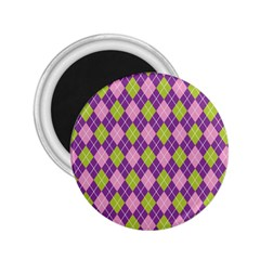Plaid Triangle Line Wave Chevron Green Purple Grey Beauty Argyle 2 25  Magnets