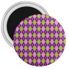 Plaid Triangle Line Wave Chevron Green Purple Grey Beauty Argyle 3  Magnets by Alisyart