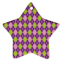 Plaid Triangle Line Wave Chevron Green Purple Grey Beauty Argyle Ornament (star)