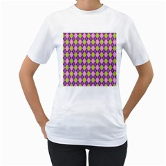Plaid Triangle Line Wave Chevron Green Purple Grey Beauty Argyle Women s T Shirt (white) (two Sided)