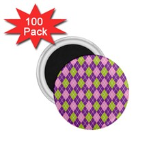 Plaid Triangle Line Wave Chevron Green Purple Grey Beauty Argyle 1 75  Magnets (100 Pack)