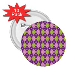 Plaid Triangle Line Wave Chevron Green Purple Grey Beauty Argyle 2 25  Buttons (10 Pack)
