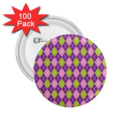 Plaid Triangle Line Wave Chevron Green Purple Grey Beauty Argyle 2 25  Buttons (100 Pack)