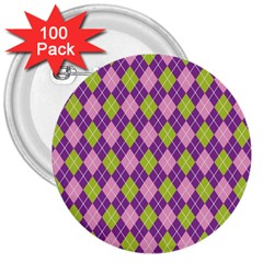 Plaid Triangle Line Wave Chevron Green Purple Grey Beauty Argyle 3  Buttons (100 Pack)
