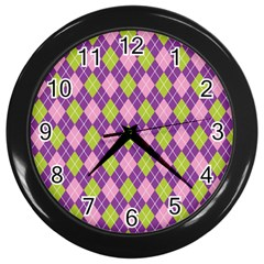 Plaid Triangle Line Wave Chevron Green Purple Grey Beauty Argyle Wall Clocks (black)